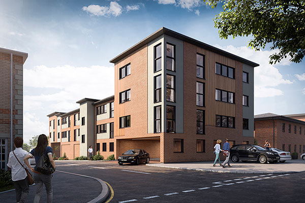 Architectural visualisation for 22 new build one and two-bedroom flats, Gorleston, Norfolk.