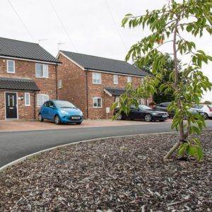 Photo of completed new build development of four 3-bedroom houses, Thurlton, Norfolk.