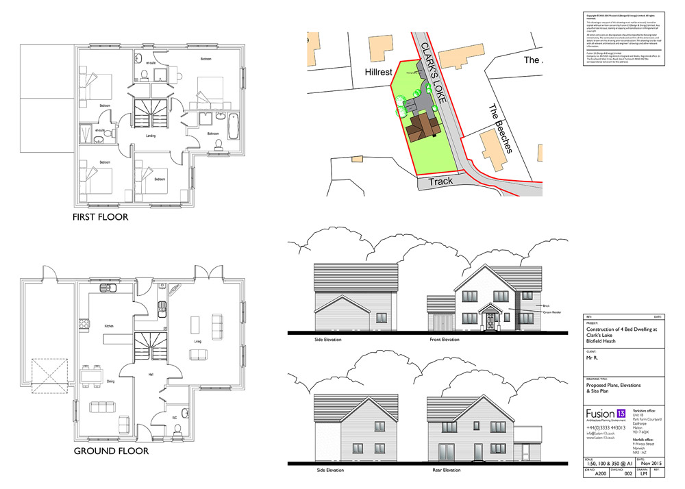 New build 4-bedroom house. Proposed plans, elevations and site plan - planning drawing