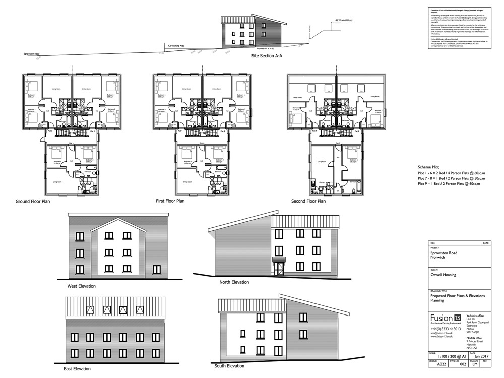 New build development of nine affordable flats for housing association. Proposed plans and elevations - planning drawing