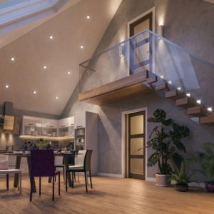 Photo real CGI visualisation of interior four-bedroom chalet bungalow, Spixworth, Norwich.