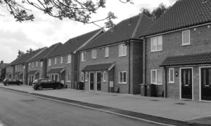 Photo of completed new build development of three-bedroom private and affordable homes, Thorpe St Andrew, Norwich