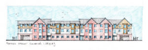 New build development of 22 flats in Norfolk. Proposed street elevation, planning sketch.