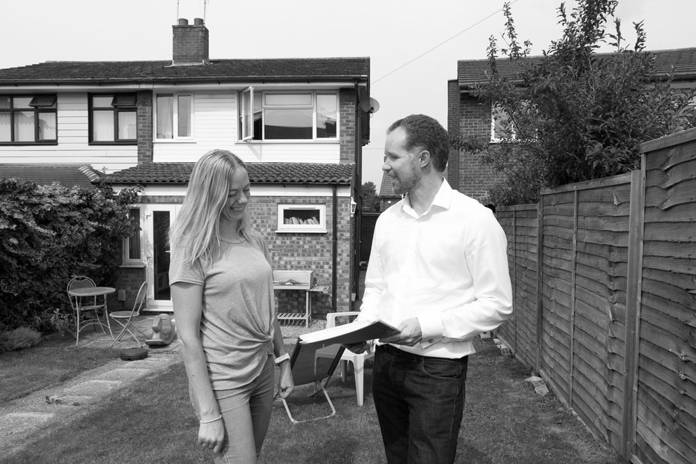 Picture of Lee Marsh with client prior to start on site at Amhirst Close, Norwich