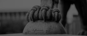 Photo of the paw and sculptors signature on the Lions sculpture by Alfred Hardiman at City Hall Norwich, an example of Art Deco architecture near to Fusion 13's Norwich office.