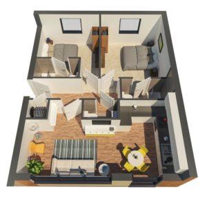 New build flats - 3D floorplan of 2-bedroom flat type A