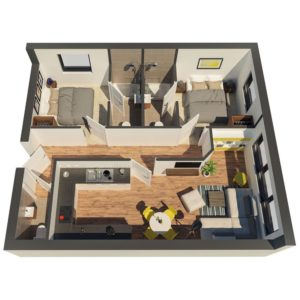 New build flats - 3D floorplan of 2-bedroom flat type B
