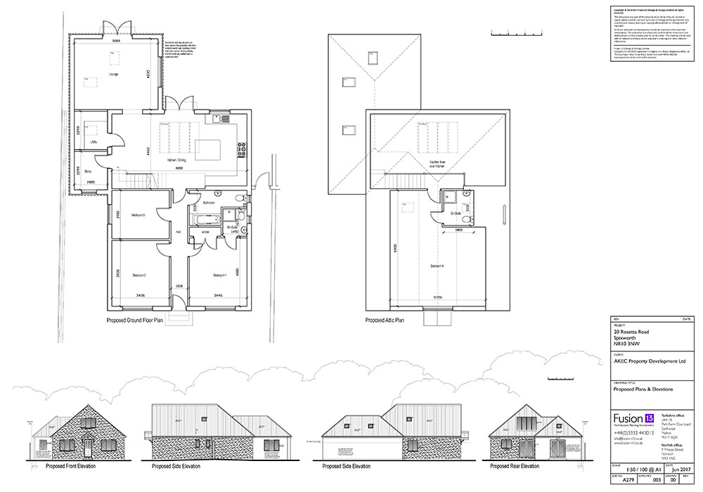 Plans And Elevations For New Build 4 Bedroom Chalet Bungalow In Spixworth,  Norwich,