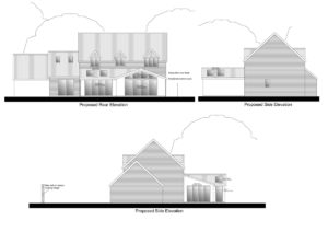 Architectural design: for large rear extension to provide open plan living space.