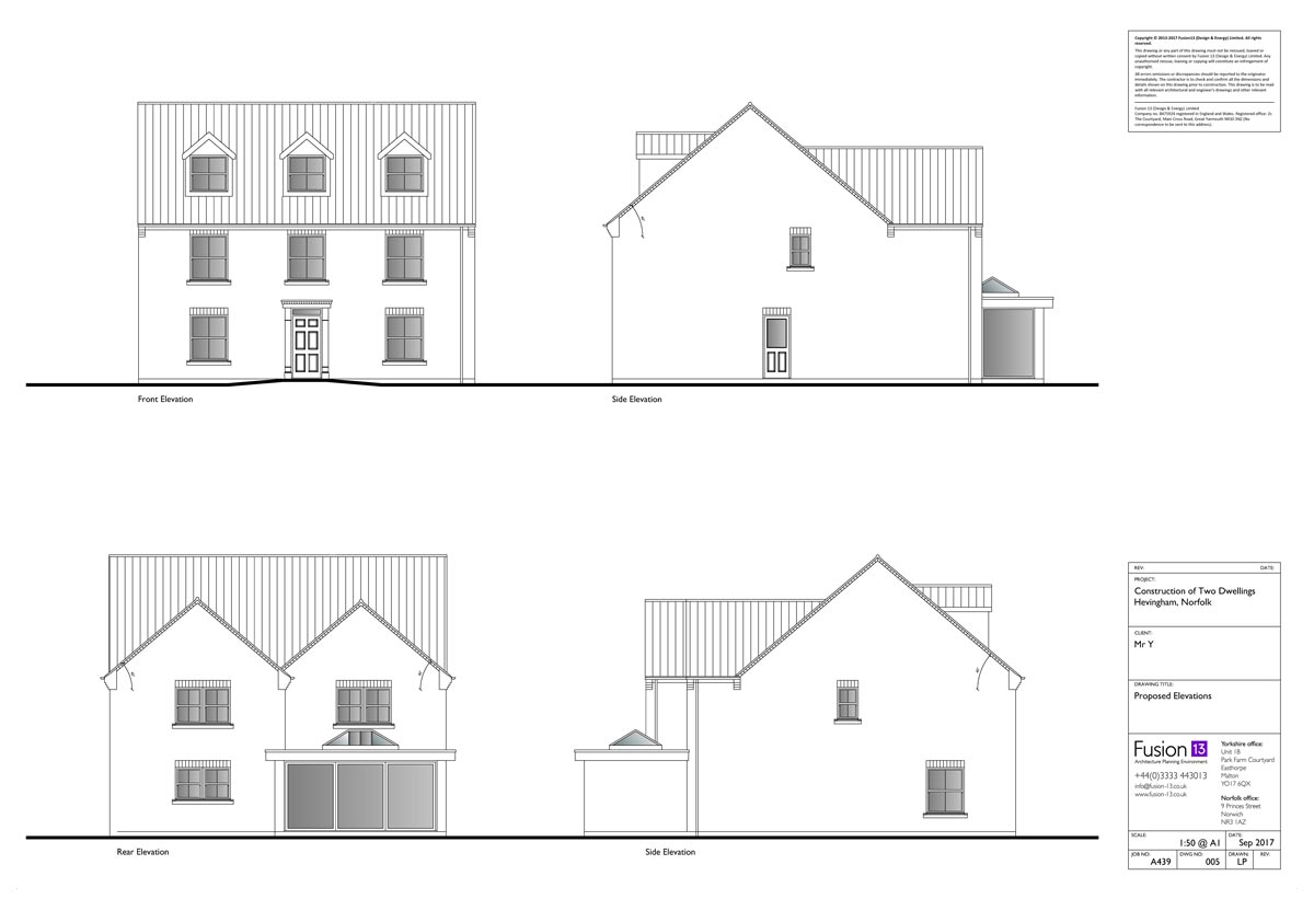 Architectural designs of proposed elevations of self-build five-bedroom detached house, Norfolk.