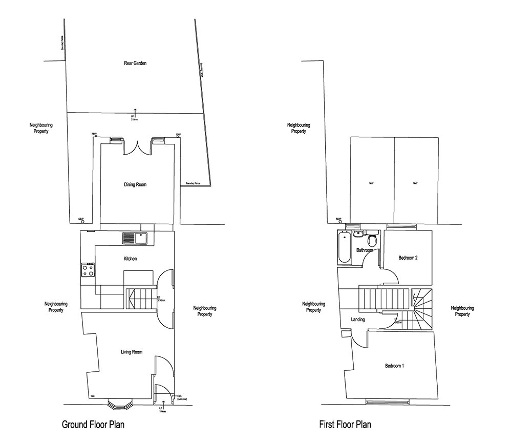 Architectural design: Existing floor plans for 2 storey extension, Brompton, North Yorkshire.
