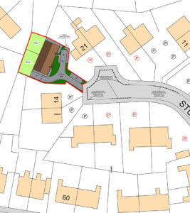 Site plan for a garage infill site, bungalows for housing association