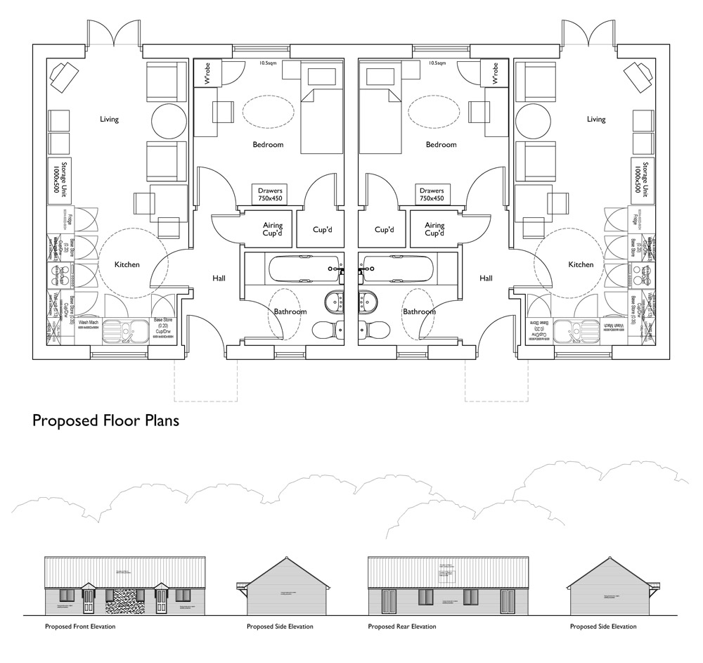 Proposed plans and elevations for 2 housing association bungalows on grage infill site, Long Stratton, Norfolk