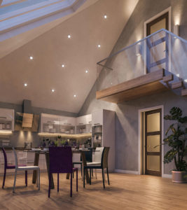 CGI photo real visulaisation of interior vaulted kitchen dining area in new build chalet bungalow Norwich.