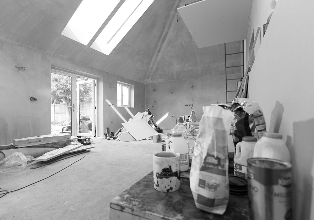 Photo taken during construction of new 4-bedroom chalet bungalow near Norwich, Norfolk. Vaulted kitchen dining area.