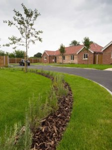 New build private housing development of 7 bungalows, Thurlton, Norfolk.