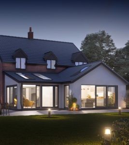 Photo real CGI visualisation of large rear extension project, to provide improved open plan kitchen/dining living space.