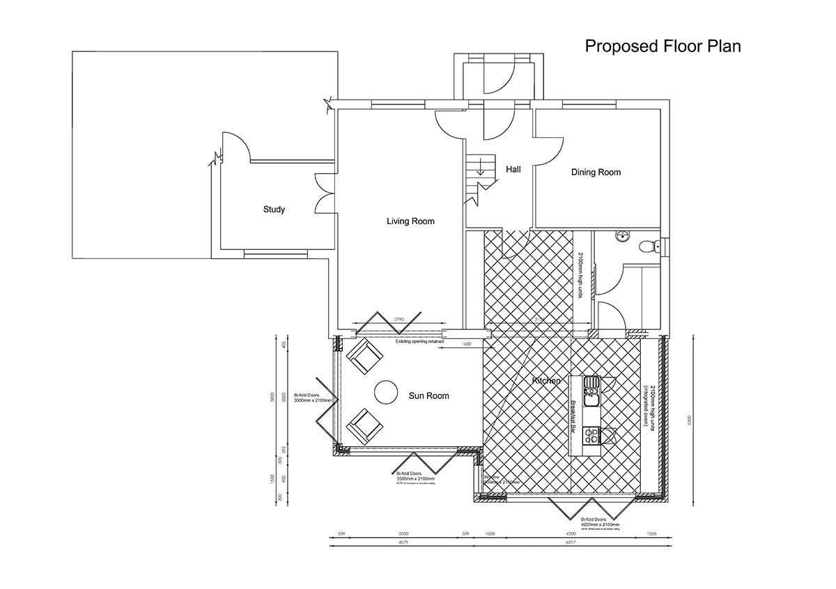 Architectural design: floor plans for large rear extension to provide open plan living space.