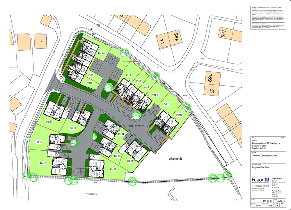Site plan of residential development in Suffolk, private and affordable housing.