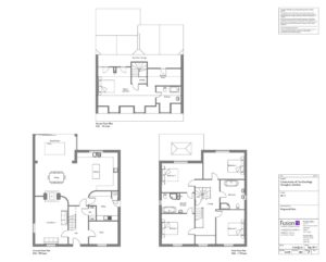 Architectural designs of proposed floor plans of self-build five-bedroom detached house, Norfolk.
