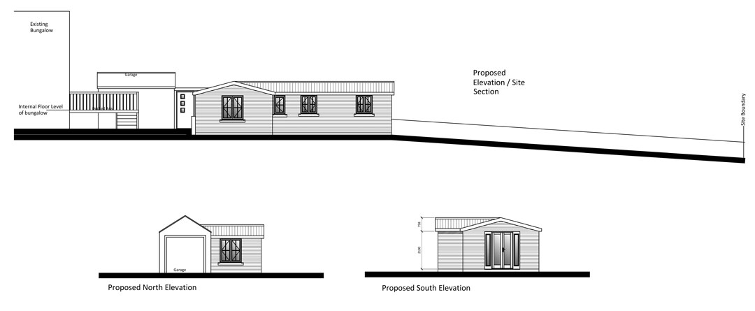 Architectural design: elevations for a self-contained annex in rear garden, Norwich, Norfolk.