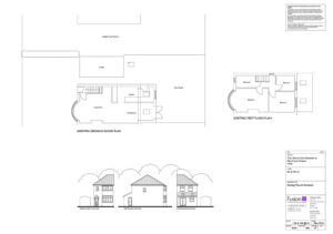 Architectural design: Existing plans & elevations for 2 storey extension, York