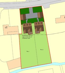 Site plan of 2 no. self-build five-bedroom detached houses, Norfolk.