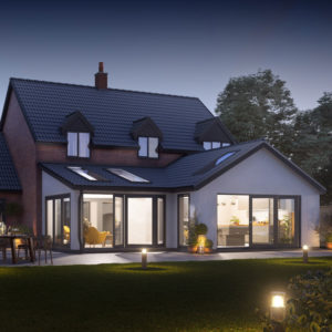 Photo real CGI visualisation of large rear extension project, architectural and planning services, Malton.