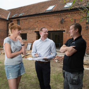 Lee Marsh with clients, barn conversion reconfiguration, architecture & planning advice.