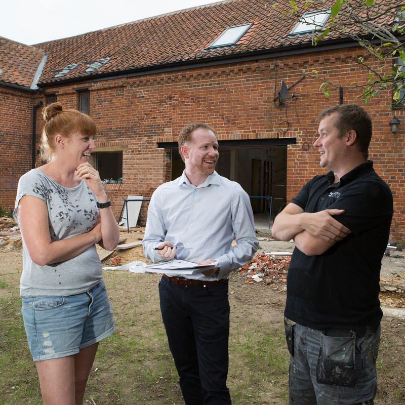 Lee Marsh with clients, barn conversion reconfiguration, architecture & planning advice, Yorkshire.