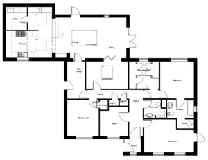 Internal reconfiguration and extension to 3-bedroom bungalow at Slingsby, York
