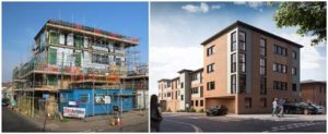Site construction of 22 new appartments in Great Yarmouth, Norfolk and CGI of finished architectural projectproject