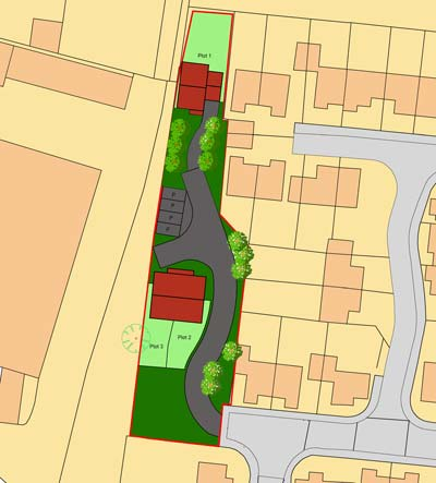Site of 3 new build houses Mill Croft Close, New Costessey